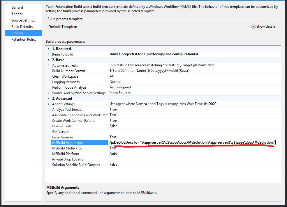 Setting up TFS build for Sandcastle Help File Builder